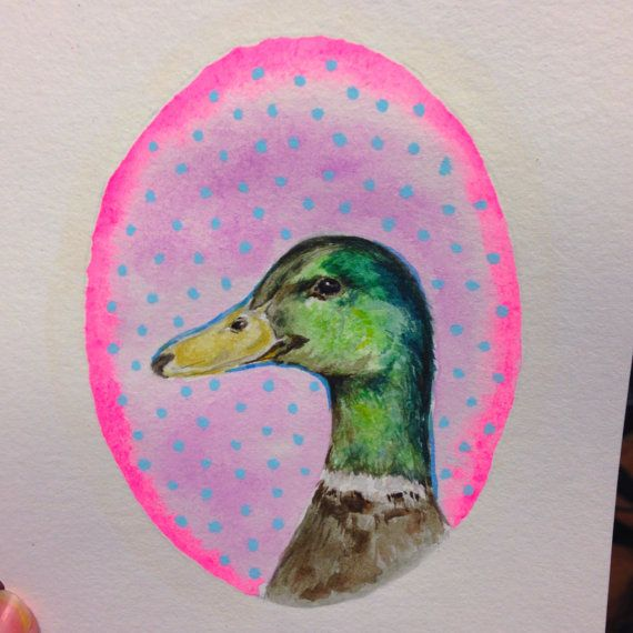 ORIGINAL Watercolor Painting  Hipster Duck Neon Pink by LimbTrim, $35.00