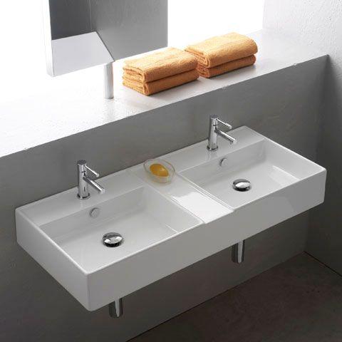 Reuter De Scarabeo Teorema Doppelwaschtisch Weiss 8035 Moderne Badezimmer Waschbecken Badezimmer Umbau Badezimmer Waschbecken