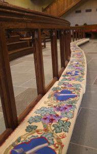 needlepoint altar rail kneelers at First United Methodist Church - Ft. Worth, TX