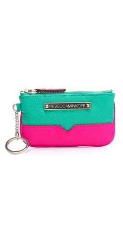 rebecca minkoff colorblock coin purse... love the colors! Awwww Camsy look at that!
