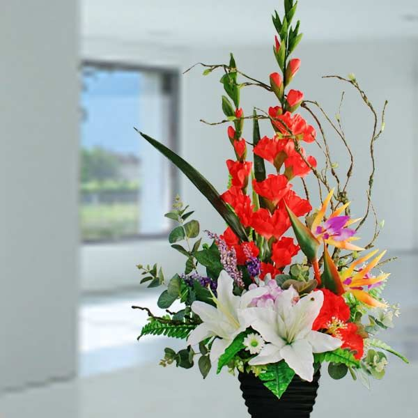 Red Gladiolus Arrangements Artificial Red Gladiolus White Lilies Arrangement Gladiolus Arrangements Flower Arrangements Table Flower Arrangements