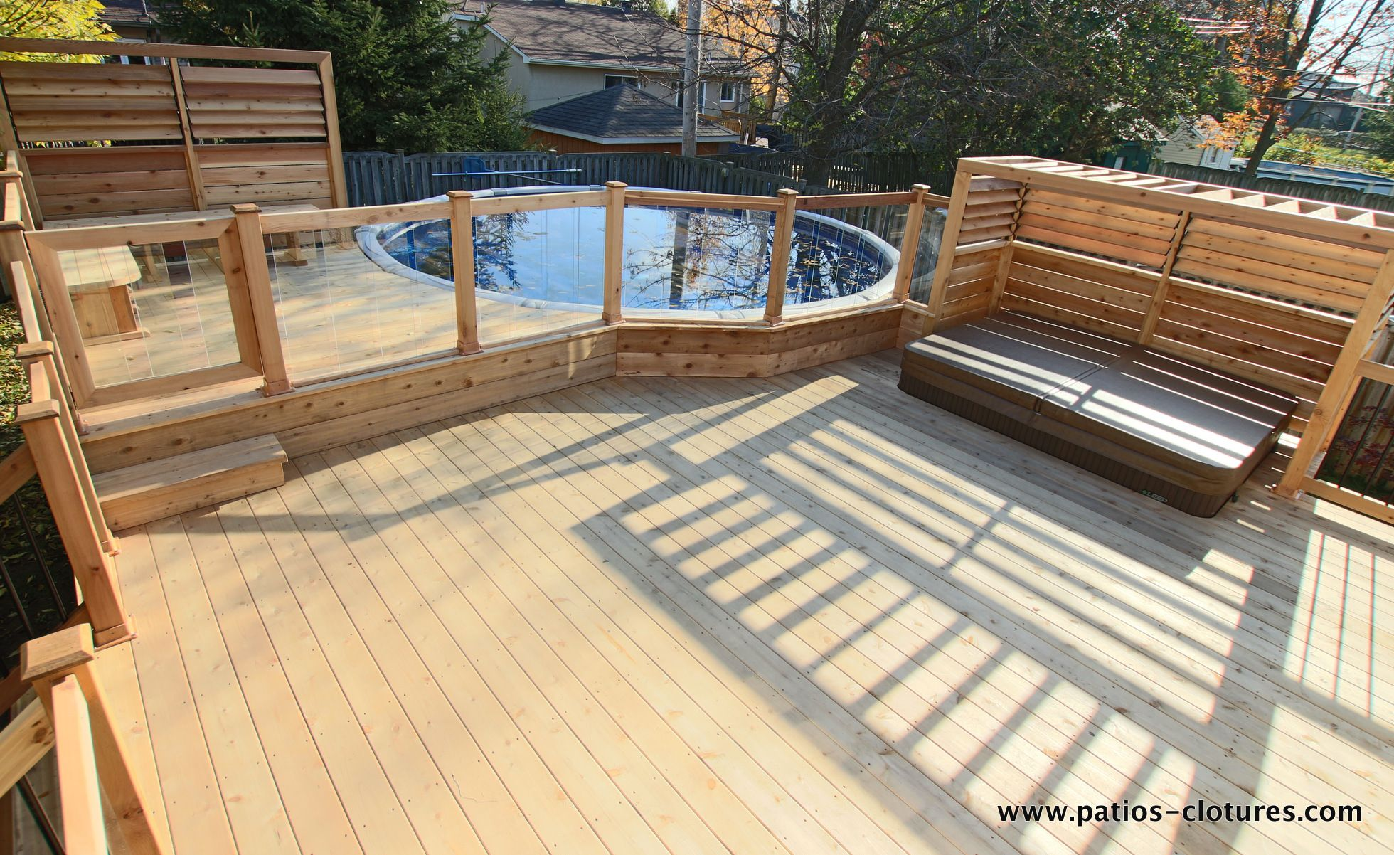 Deck Around Above Ground Pool With Integrated Hot Tub And