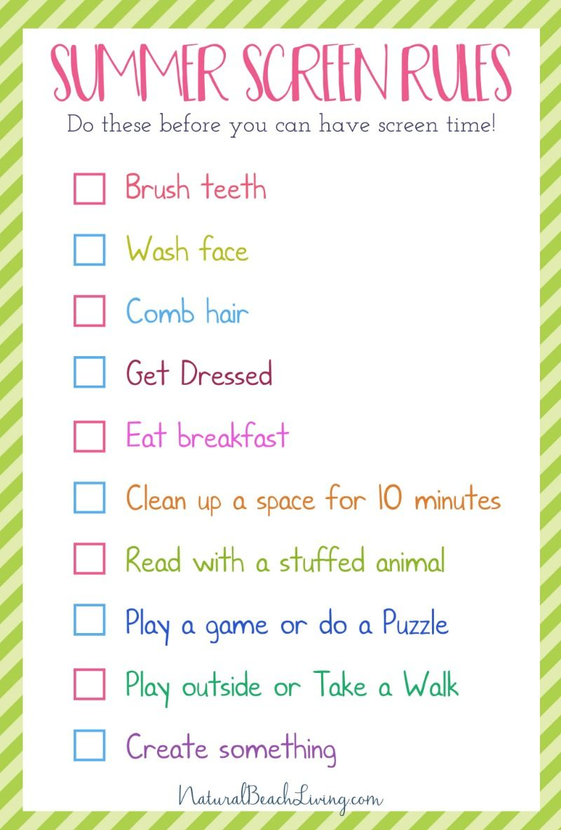 The Perfect Summer Rules For Kids Screen Free Time Summer
