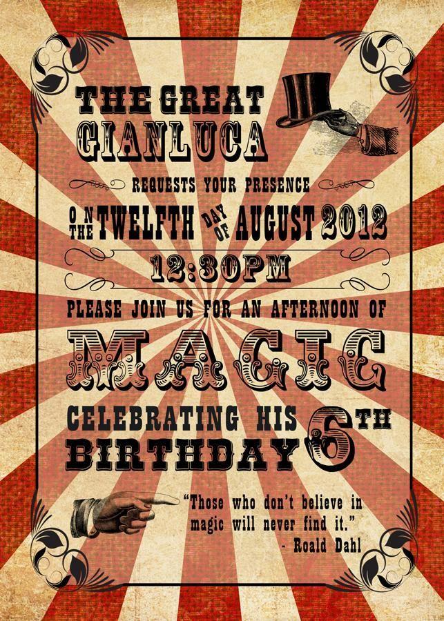 Vintage magic birthday party invitation | Kid stuff! | Pinterest ...