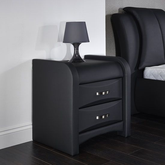 Best Azari Bedside Cabinet In Black Faux Leather With 2 Drawers 400 x 300