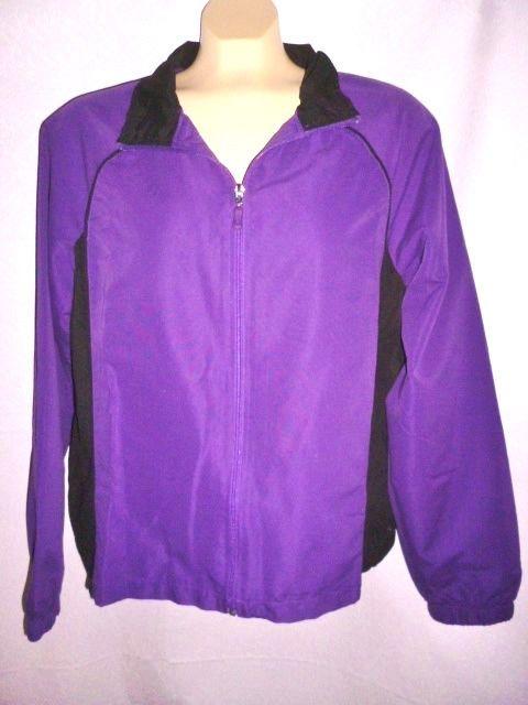 Womens DANSKIN NOW Windbreaker Jacket Vibrant Purple & Black Mesh Lined L 12-14  #DanskinNow #CoatsJackets