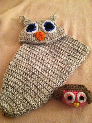 Baby owl cocoon and matching cap. Free baby owl comes with it.