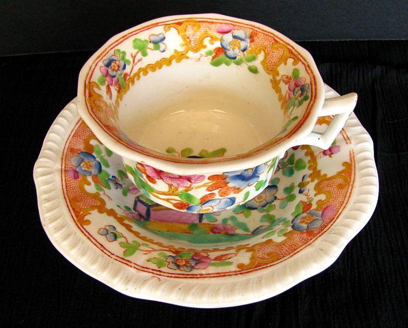 Antique english chinoiserie cup saucer joseph machin