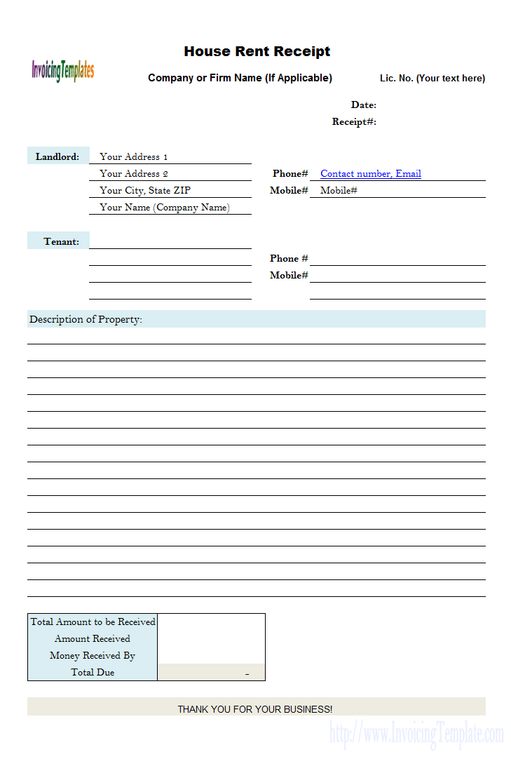 House Rent Receipt Form Invoice Template Invoice Design Template Being A Landlord