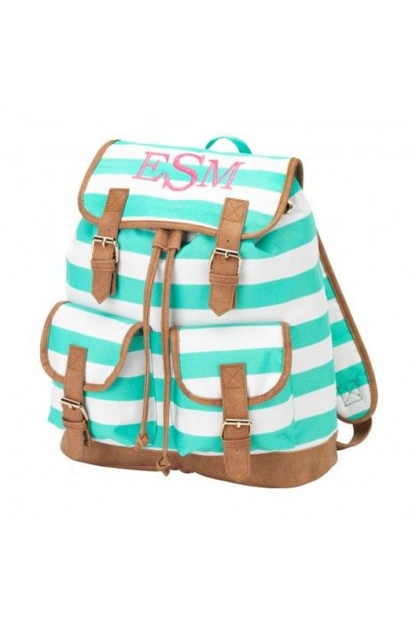 Bag · Mint Stripe Campus Backpack  monogramit Love this! Monogram  BackpackPersonalized ... 57607f0630019