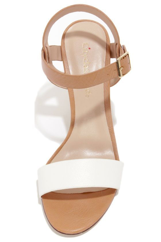 0e21df5a94ea1 City Classified Space White and Light Tan High Heel Sandals at LuLus.com!  for may day