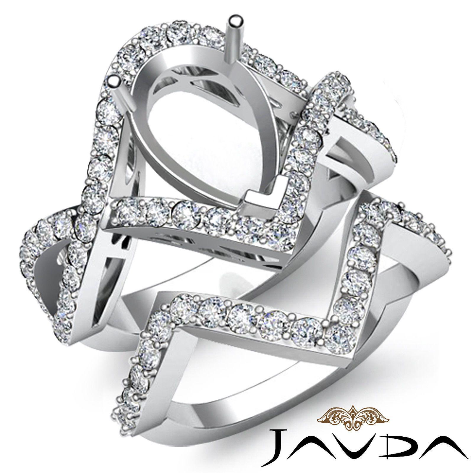 Round Diamond Engagement Ring Pear Bridal Set Platinum 950 Pave Setting 1 4ct | eBay