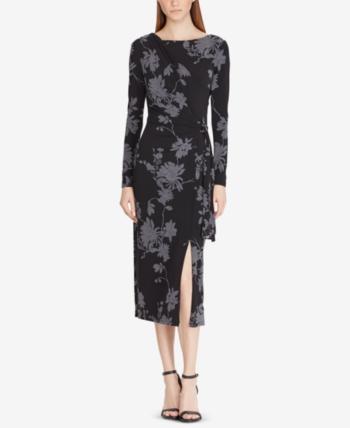 003b9b16099 Lauren Ralph Lauren Floral-Print Dress - Black Heather Gray 10