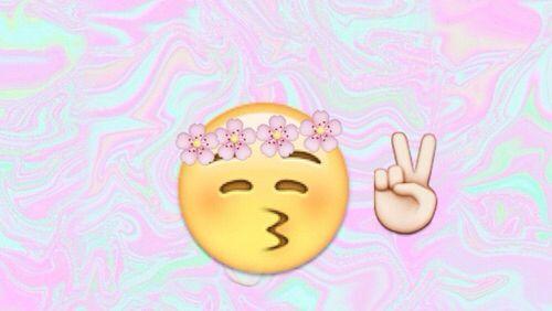 No Heart Kiss With Flower Crown And Peace Sign Emoji Header Tumblr Kiss Emoji