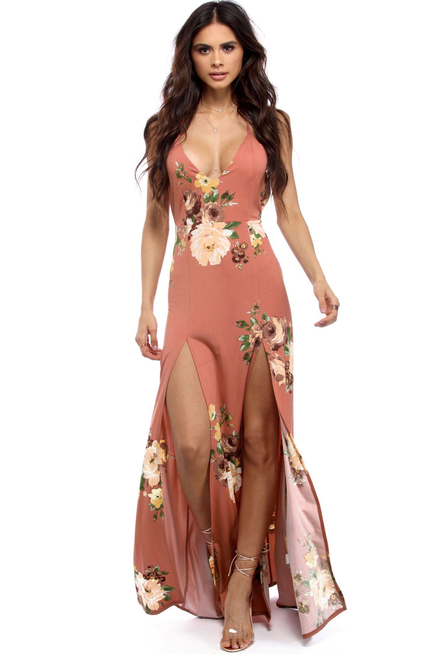 FINAL SALE- Rust Floral Slit Maxi Dress | Maxi dresses, Floral and ...