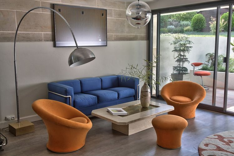 Featuring Mushroom lounge chairs by Pierre Paulin for Artifort