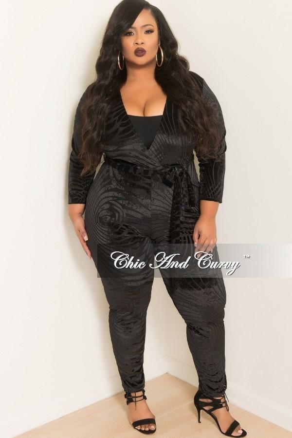 ecd1ce0b74e Final Sale Plus Size Faux Wrap Velour Jumpsuit with Attached Tie in ...