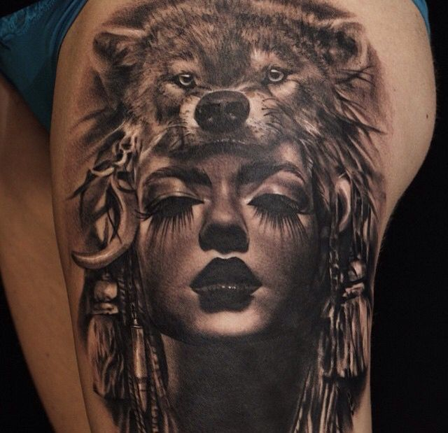 Tattoo Woman In Wolf: Tattoos, Wolf Tattoos, Headdress Tattoo