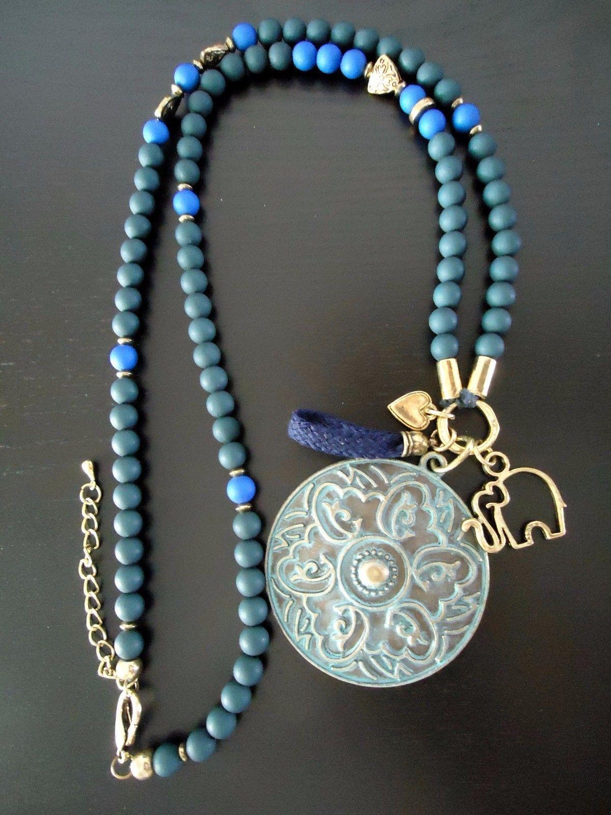 4d78b1bf4a6f Collar Artesanal Boho cuentas mate Colgante bronce envejecido handmade  jewelery
