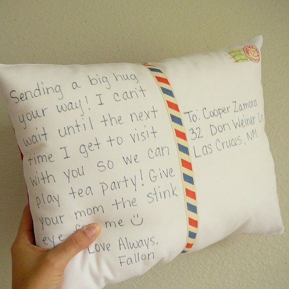 Postcard Pillow. the closest way to send a hug that I've ever seen. One pinner suggested this as a great deployment gift...