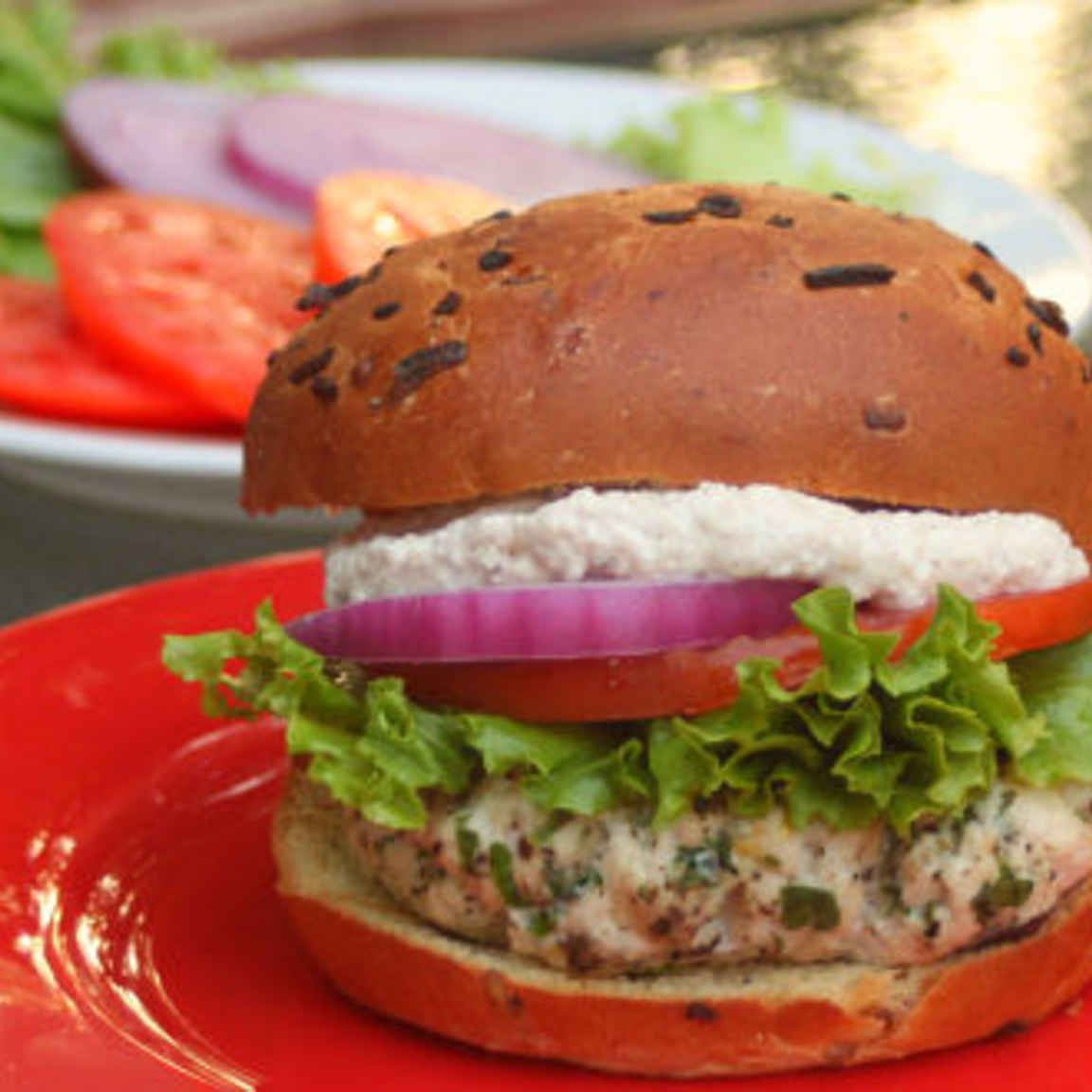 Greek Burgers with Feta Sauce.