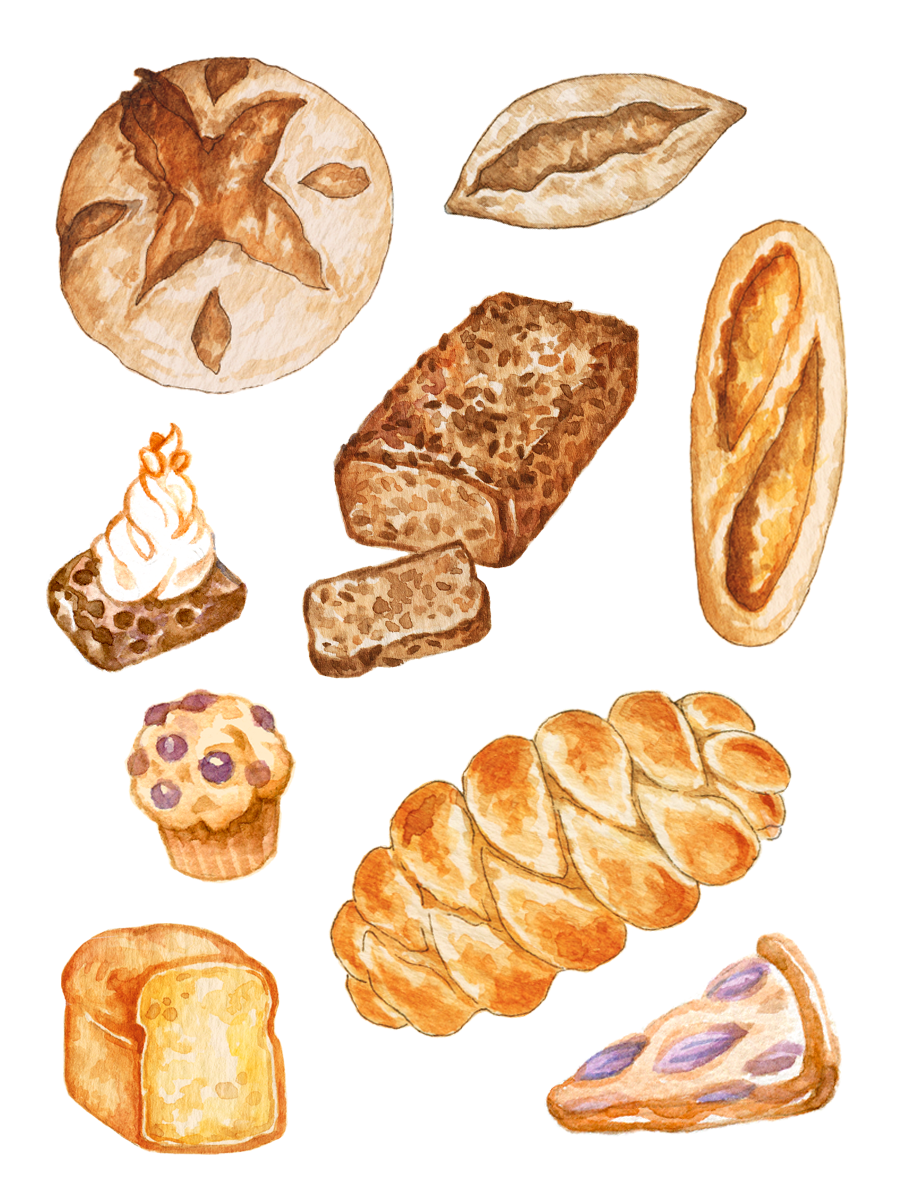 Bread Baking Planner Stickers Meal Planner Printable Etsy In 2020 Watercolor Food Watercolor Food Illustration Food Illustrations