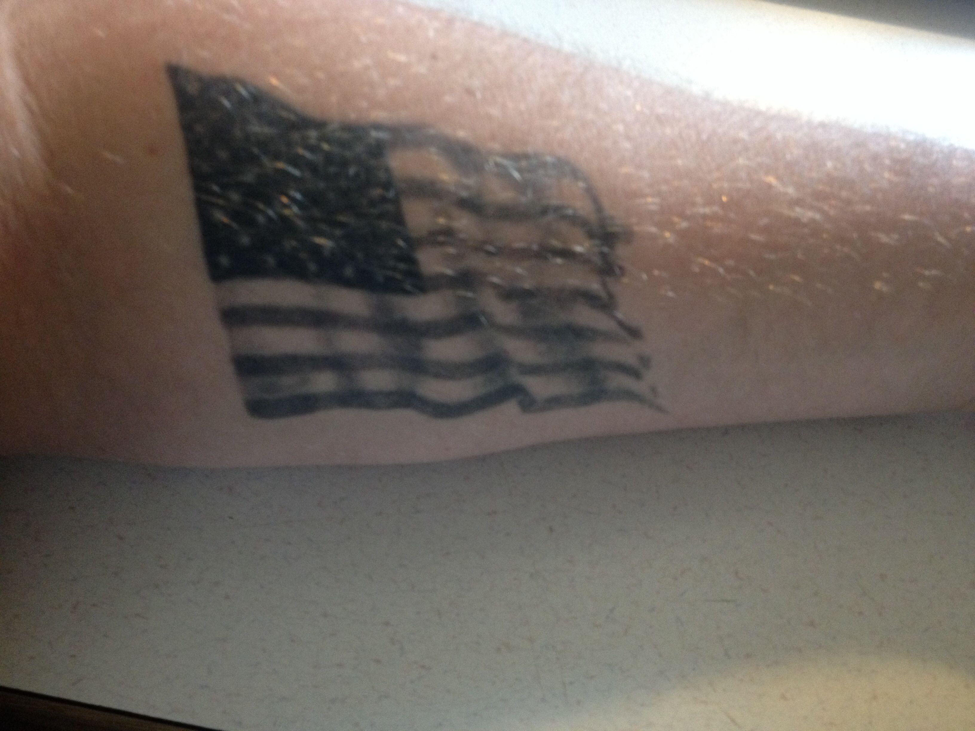 Kent S Simple American Flag Tattoo On Forearm Patriotic Tattoos