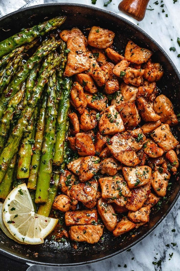 Butter Chicken Bites with Lemon Asparagus -Garlic Butter Chicken Bites with Lemon Asparagus -  Beef