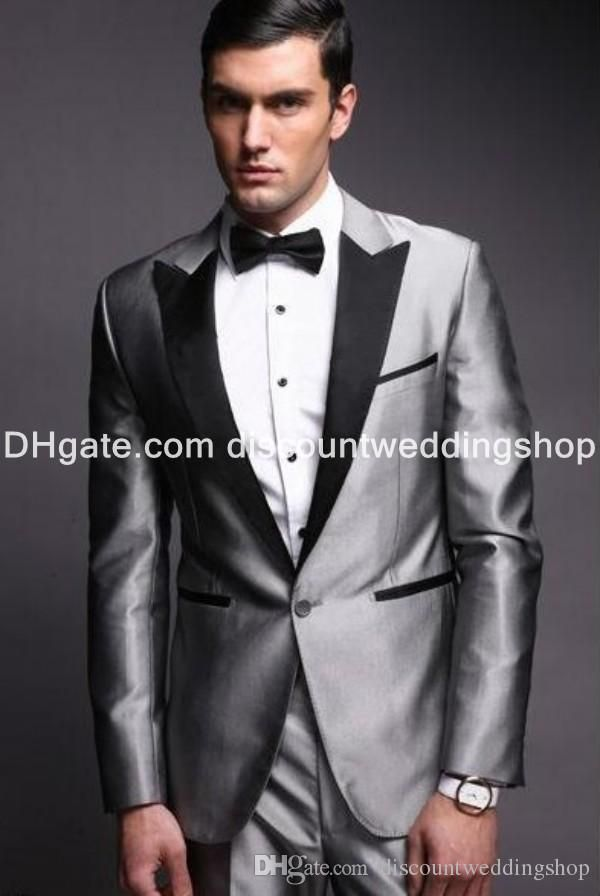 Mens Suits Cheap Groom Tuxedos One Button Silver Groomsmen Peak ...