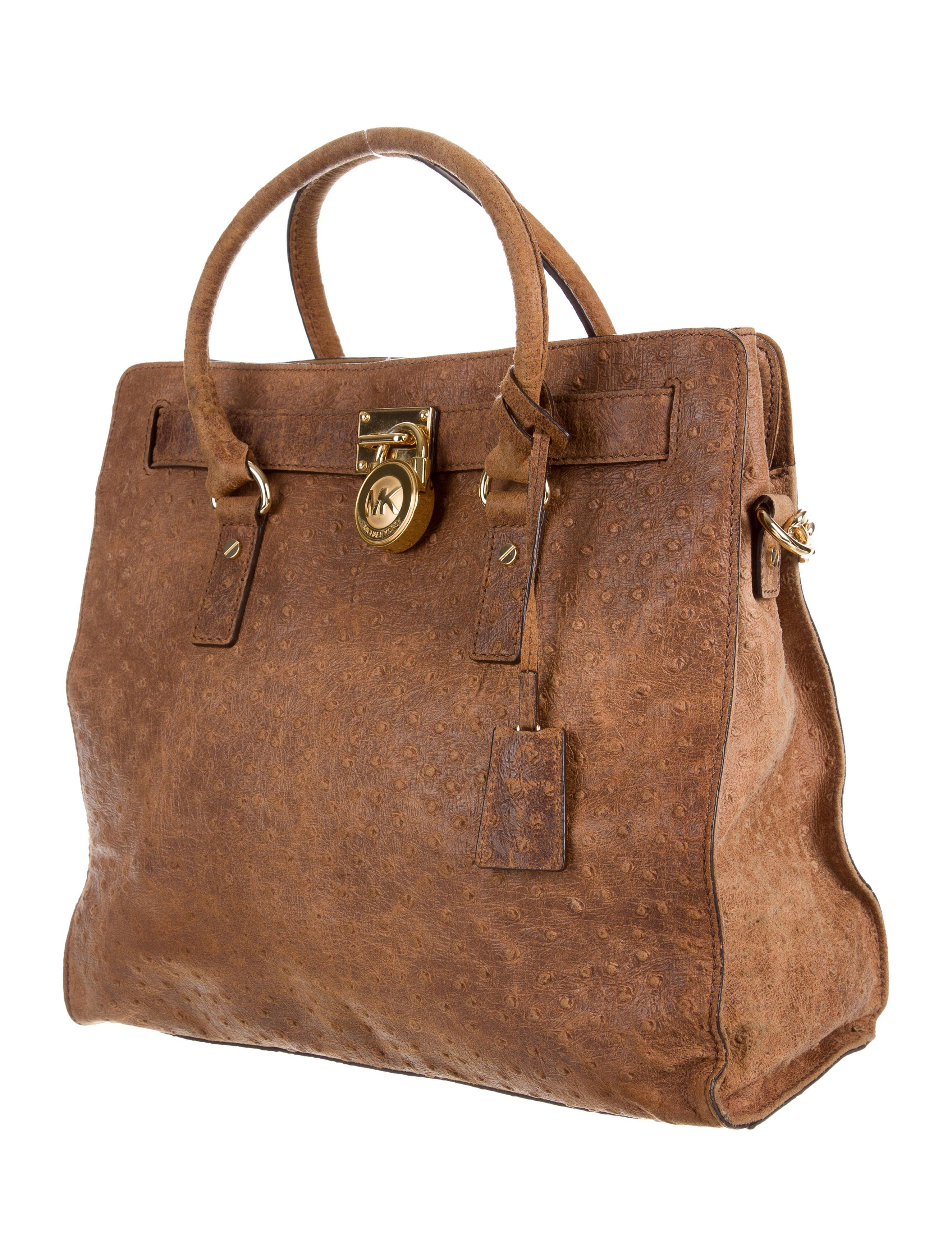3241f5454848 Brown embossed distressed leather Michael Michael Kors Large Hamilton tote  with gold-tone hardware