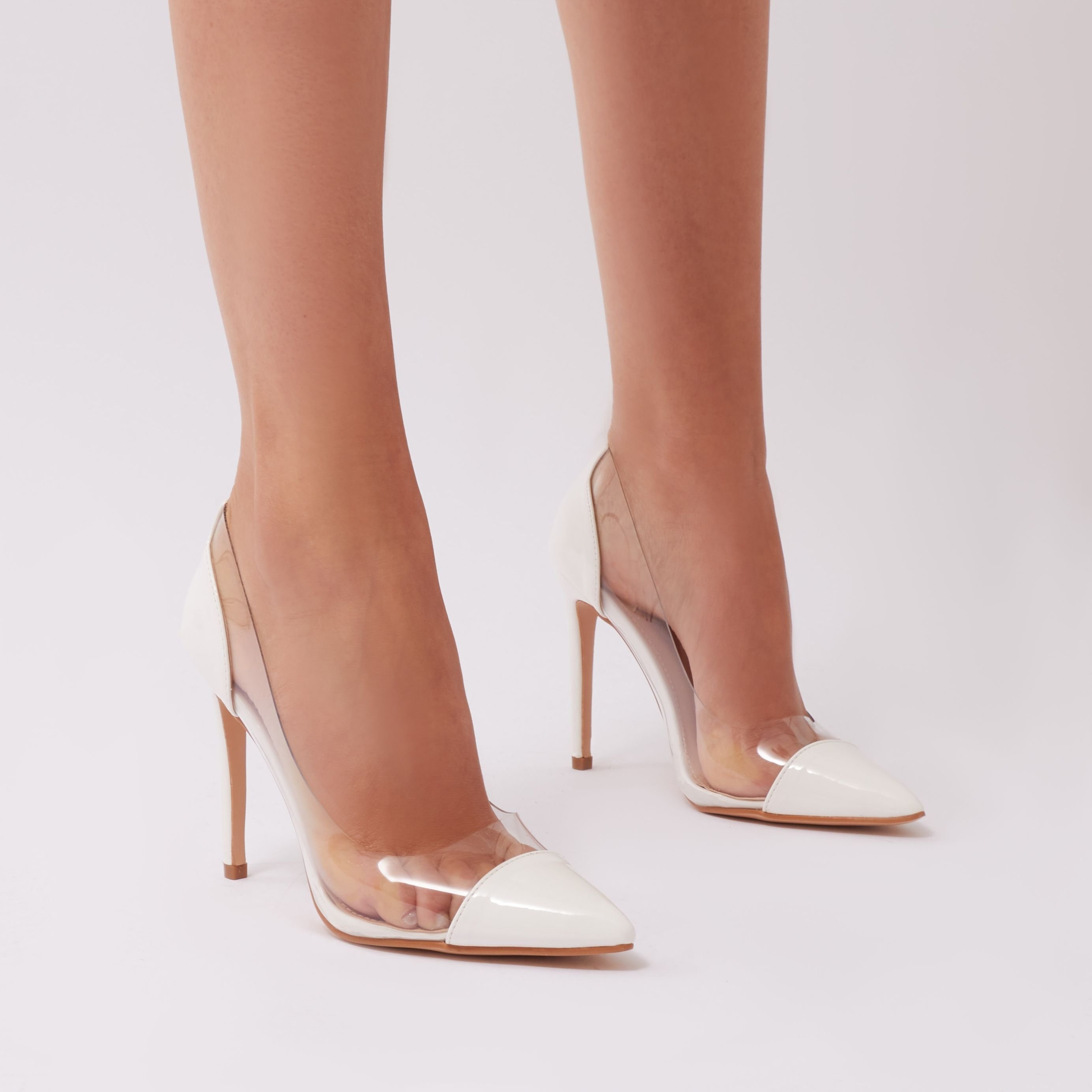 3e8c62f8e43 Potion Clear Perspex Court Heels in White Patent | Summer '18 ...