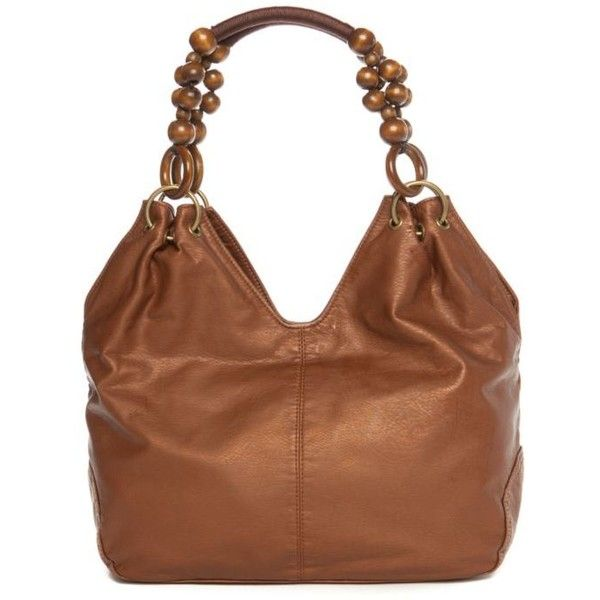 Bueno Bronze Pearlized Beaded Handle Hobo 53 Liked On Polyvore Featuring Bags