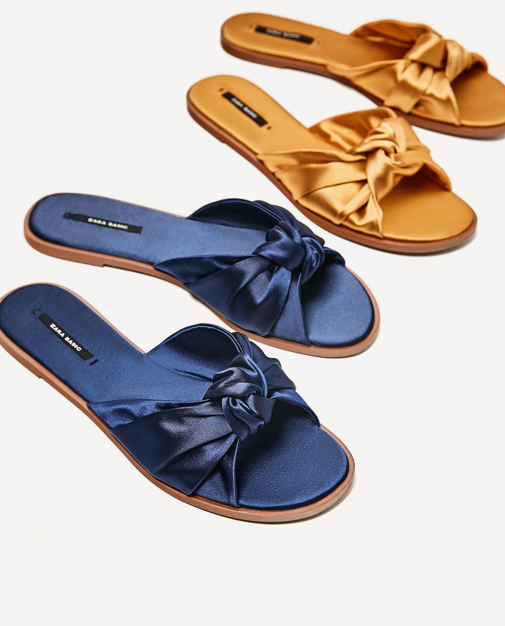 Elegante y elegante mujer zapatos Zara Sandalia plana azul V