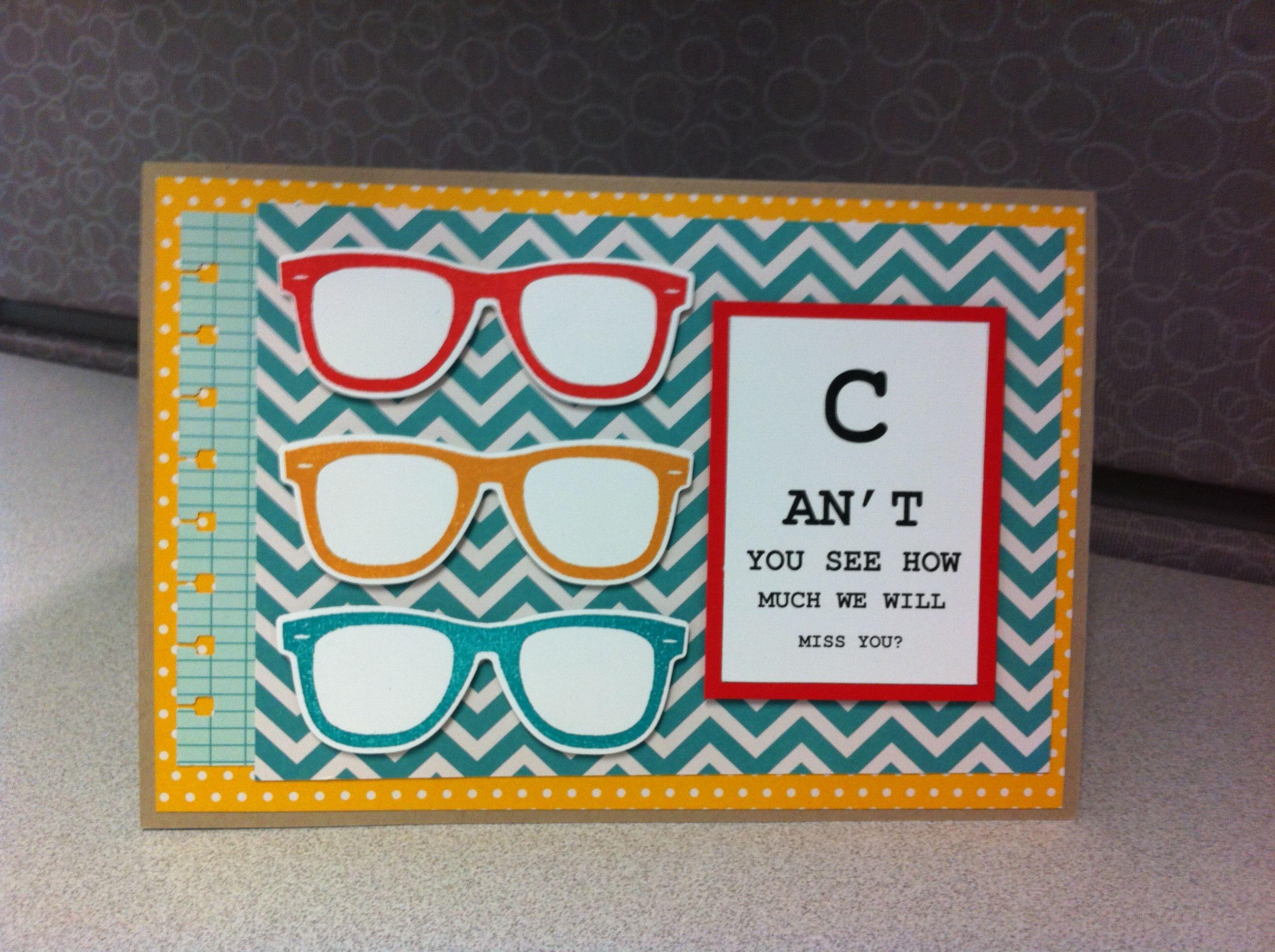 Glasses Farewell Card Creative Cards Farewell Cards Cards