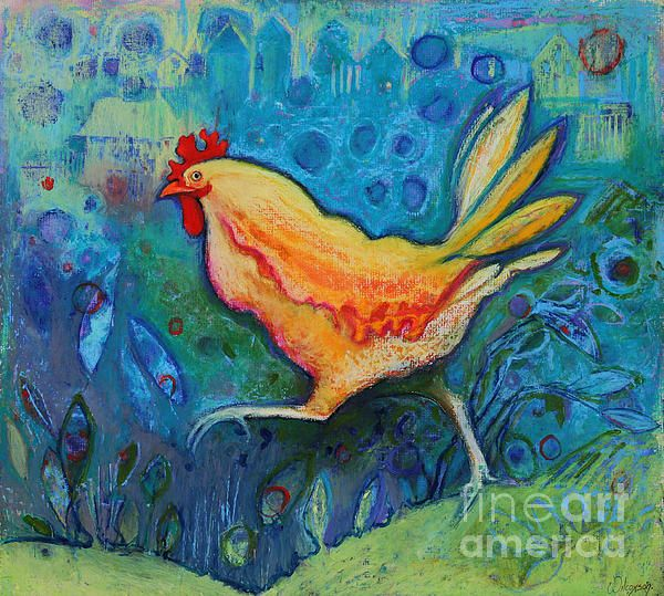 Suburban Bob chicken art by Jane Wilcoxson