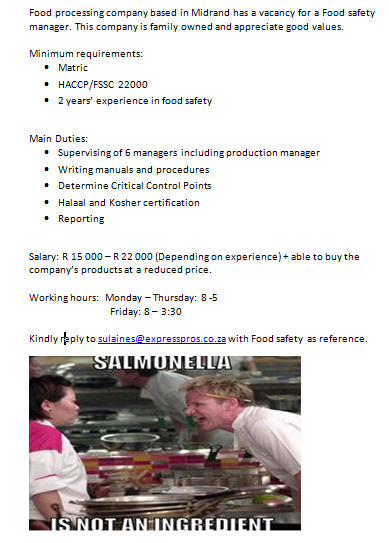 Food & Safety Manager Job Available!! Critical control