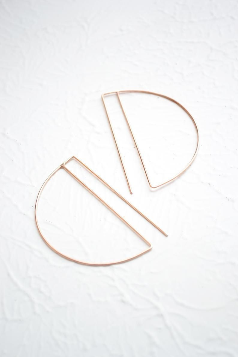 Photo of Rose Gold Hoops Earrings – Contemporary Minimalist Earrings for Women – Lightweight Simple Ho…