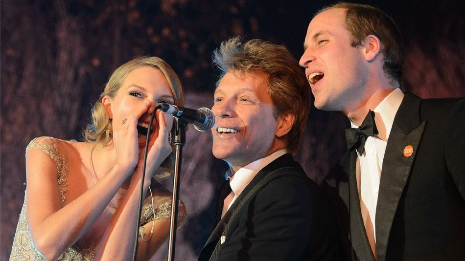 "Taylor Swift looked like a princess, Jon Bon Jovi strummed his guitar, and Prince William let loose. Together, the three sang ""Livin' on a Prayer."""