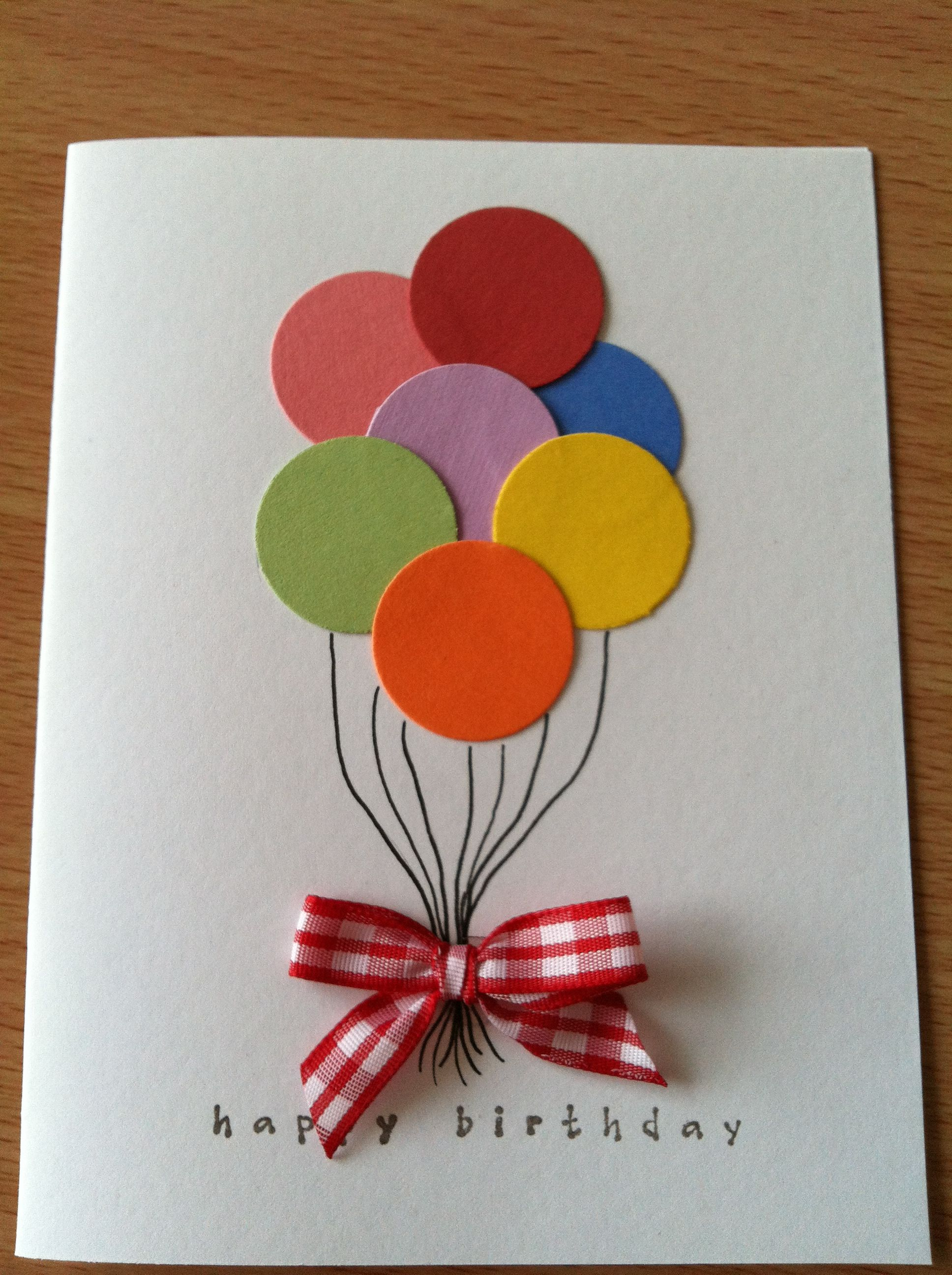 Happy Birthday Balloons Greeting Card with sewn paper