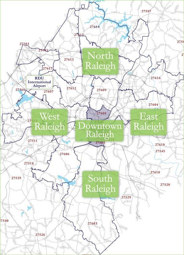 Raleigh Zip Code Map   Raleigh downtown, Zip code map, West east