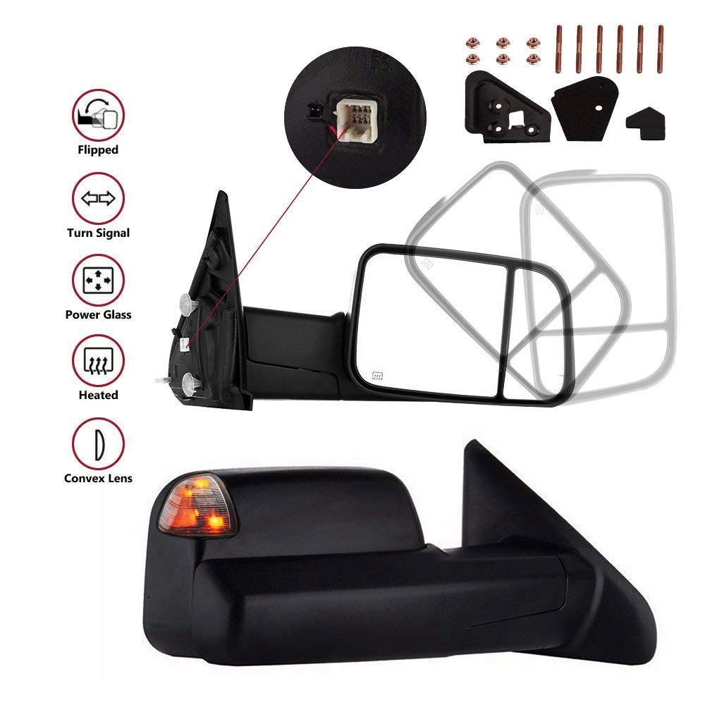 Heated Glass Manual Foldable Side Towing Mirrors For Dodge RAM Pair of Black Powered