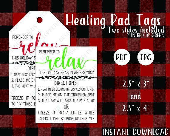 image relating to Printable Rice Bag Instructions named Printable Heating Pad / Bag Tags - JPG PDF - Rice bag