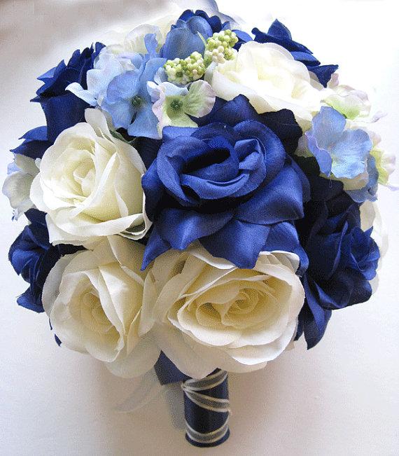 17 Pcs Wedding Silk Flower Bouquet Bridal Package Navy Blue Ivory