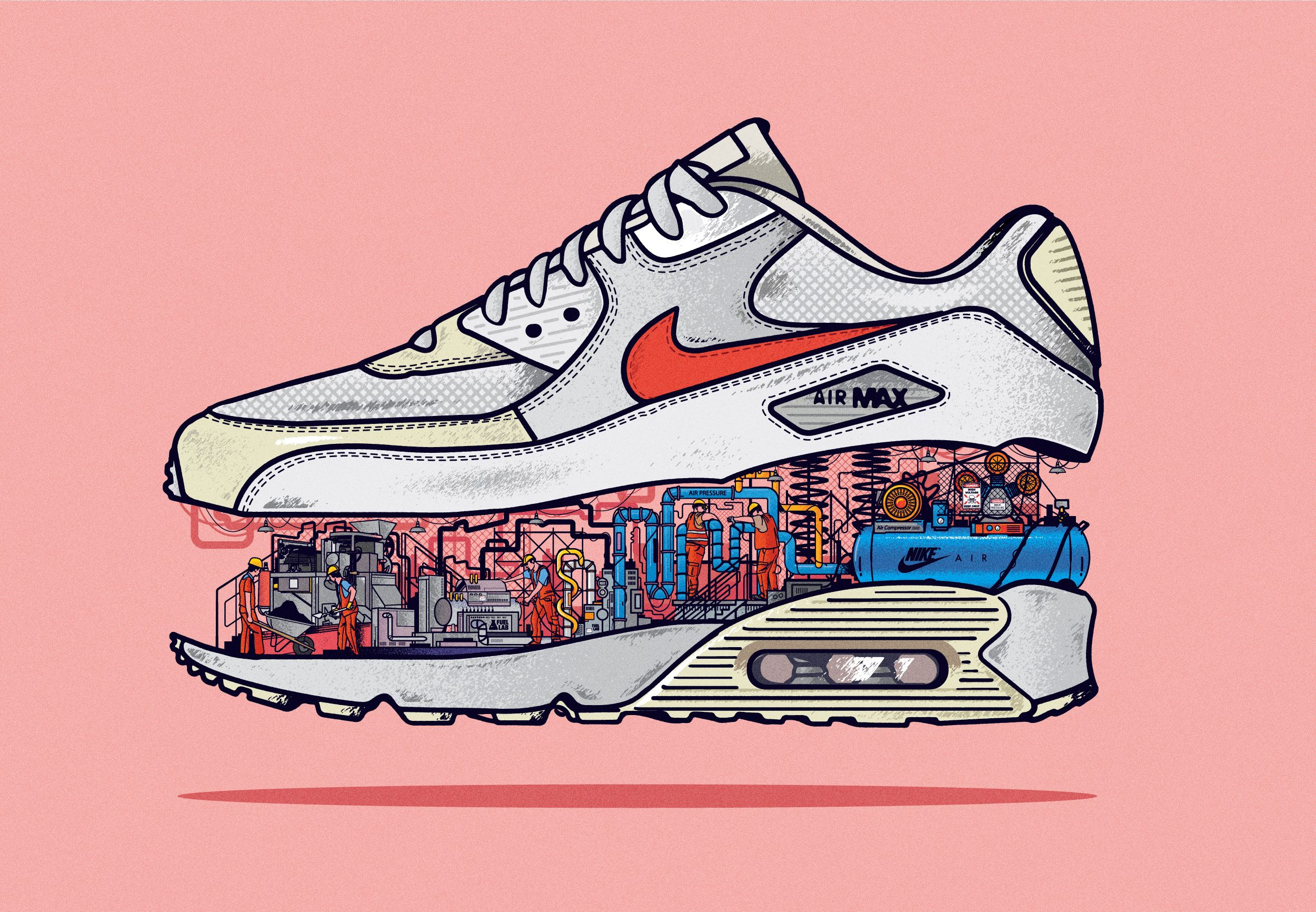 san francisco cd376 5d3f3 Sneakers Under Construction by Musketon – Fubiz Media Illustrator, Vector  Art, Air Max Sneakers