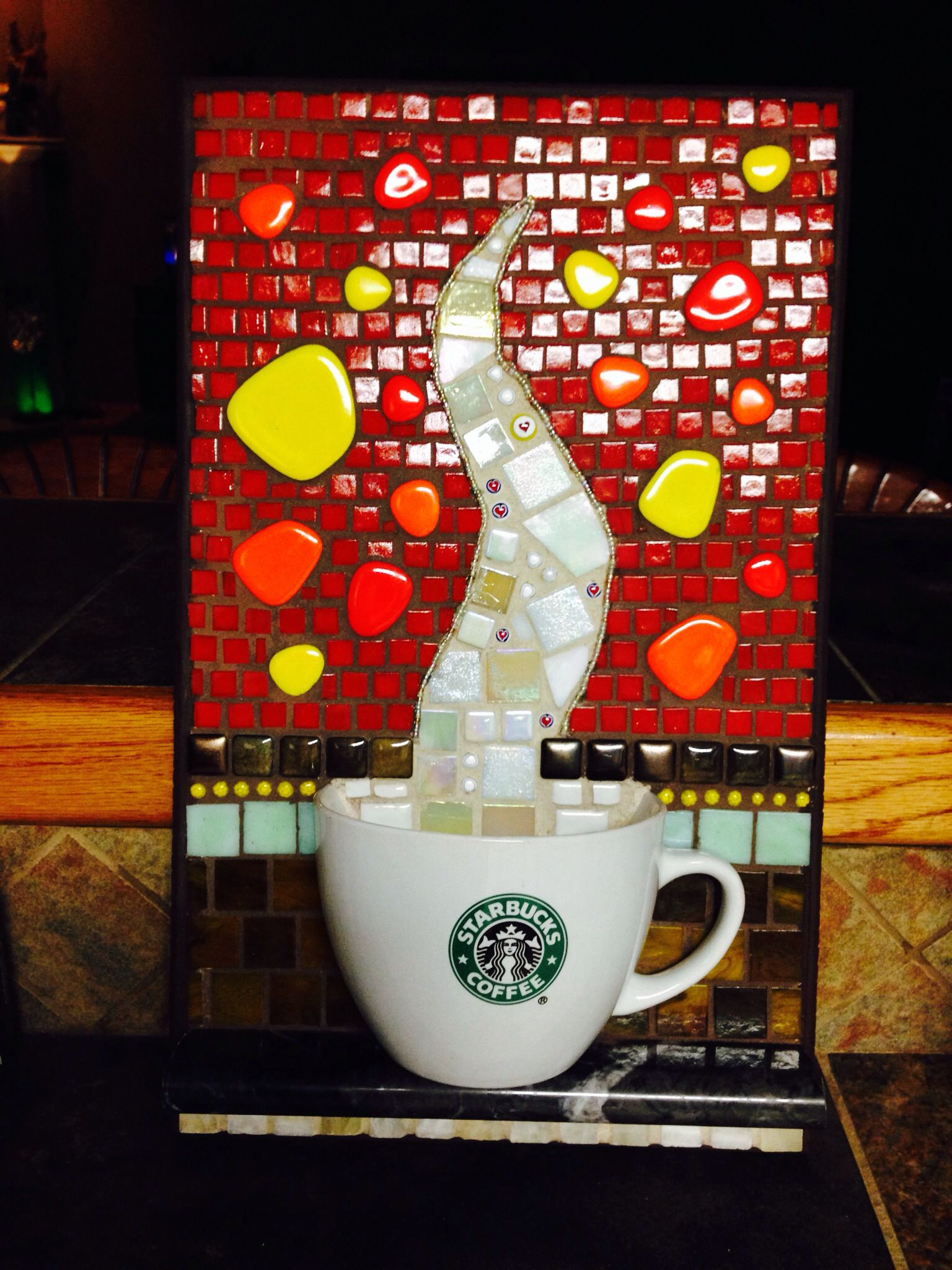 Starbucks coffee cup Mosaic art, Mosaic projects, Mosaic