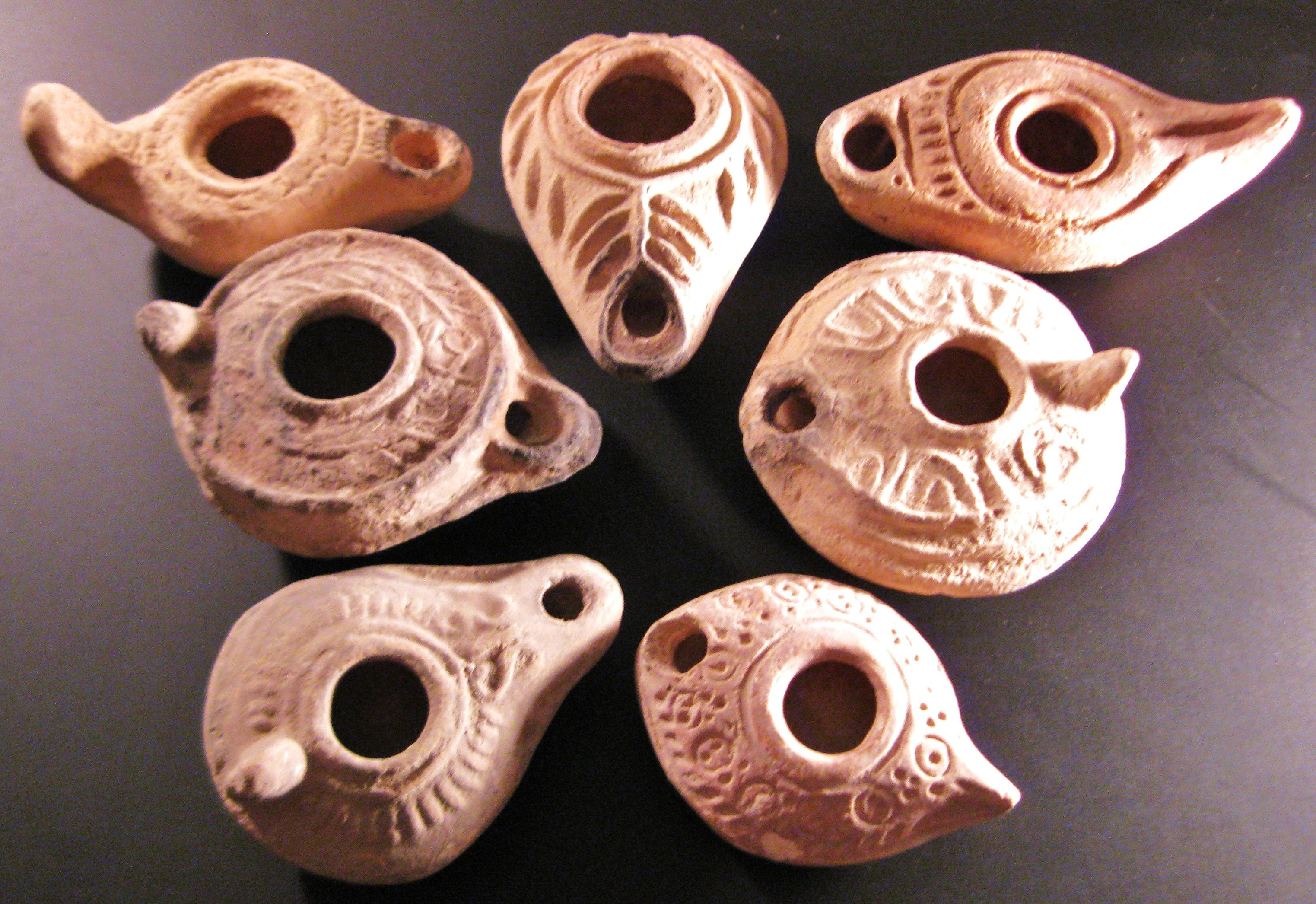 Group Of 7 Ancient Pottery Oil Lamps Late Roman Byzantine
