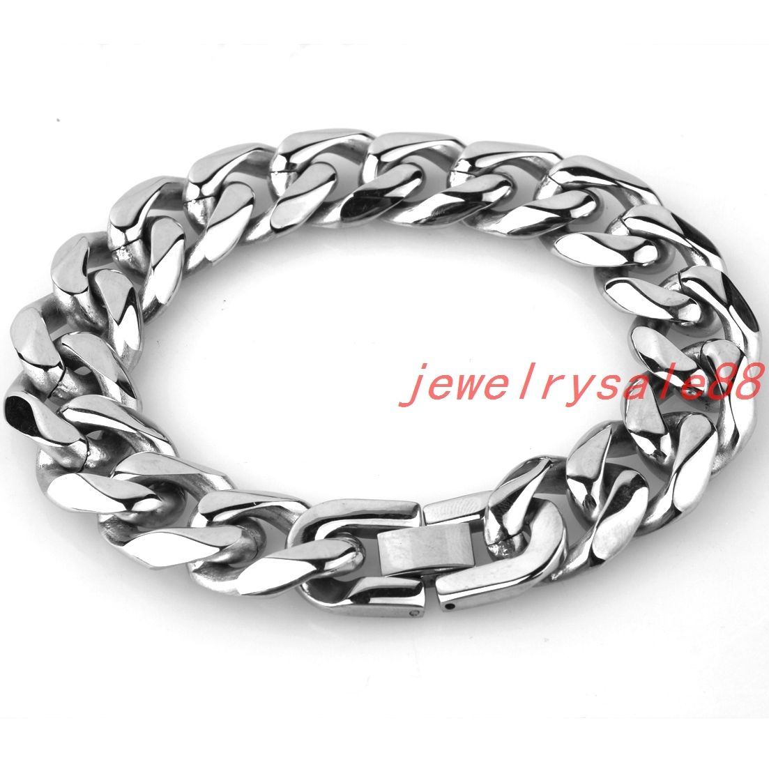 Fashion stainless steel cuban chain bracelet mm silver tone mens