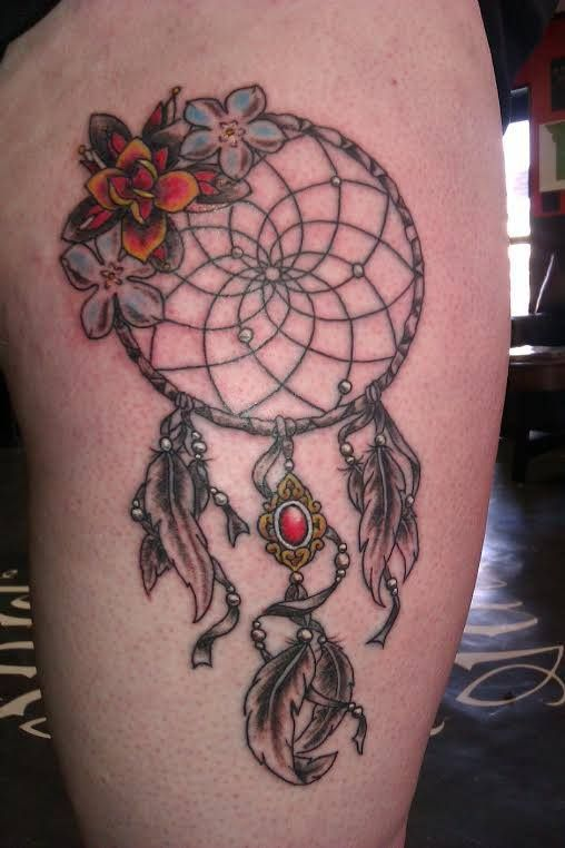 #dreamcatcher #feathers #jewel #primrose #thigh #tattoo # ...