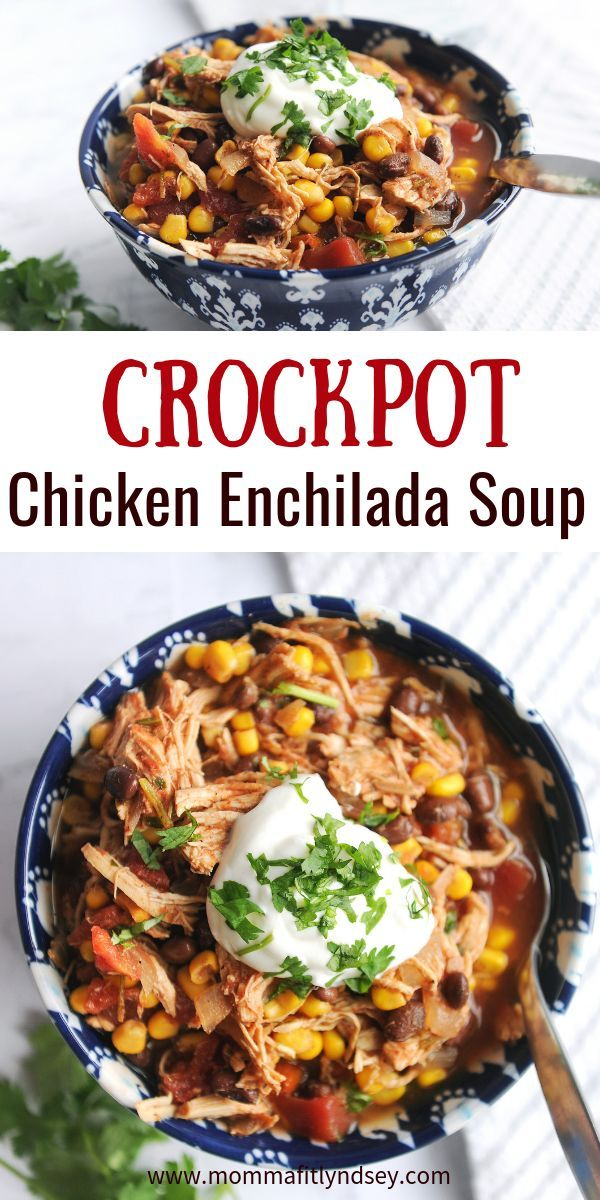Healthy Slow Cooker Chicken Enchilada Soup images