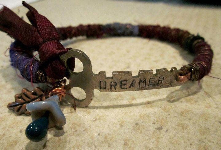 recycled stamped key bracelet